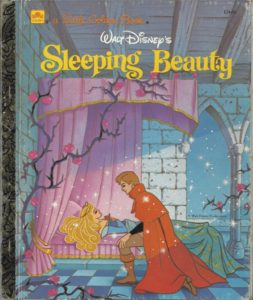 front of Little Golden Book, sleeping beauty